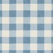 Clark und Clark Baumwoll Canvas/Möbelbezugstoff blau weißes Karo