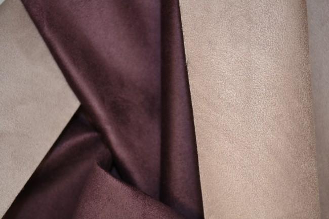 Velour Lederimitat Doubleface lavendel/brombeere