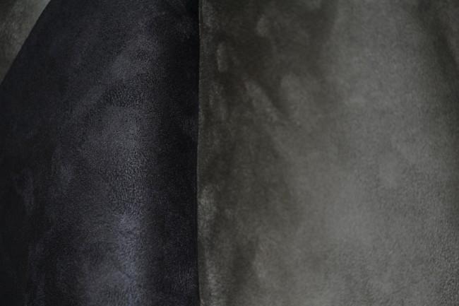 Velour Lederimitat Doubleface grau/schwarz
