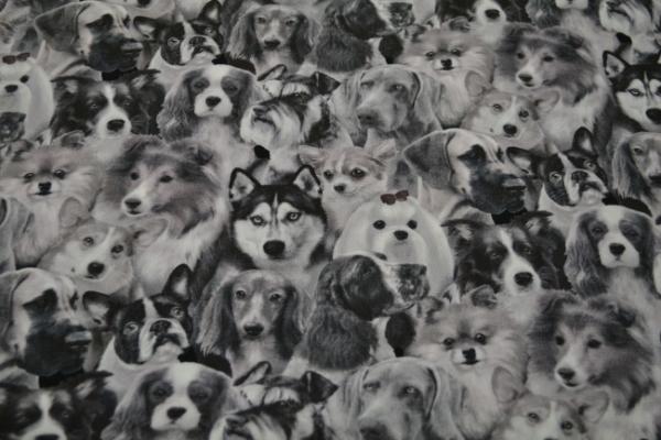 Patchworkstoff Hunde schwarz weiß
