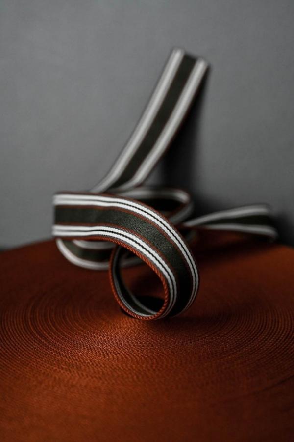 Gurtband 4 cm khaki mit orange