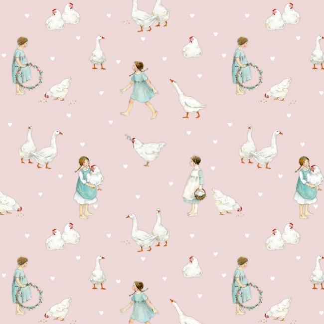 Landleben rosa Baumwolle von Daniela Drescher