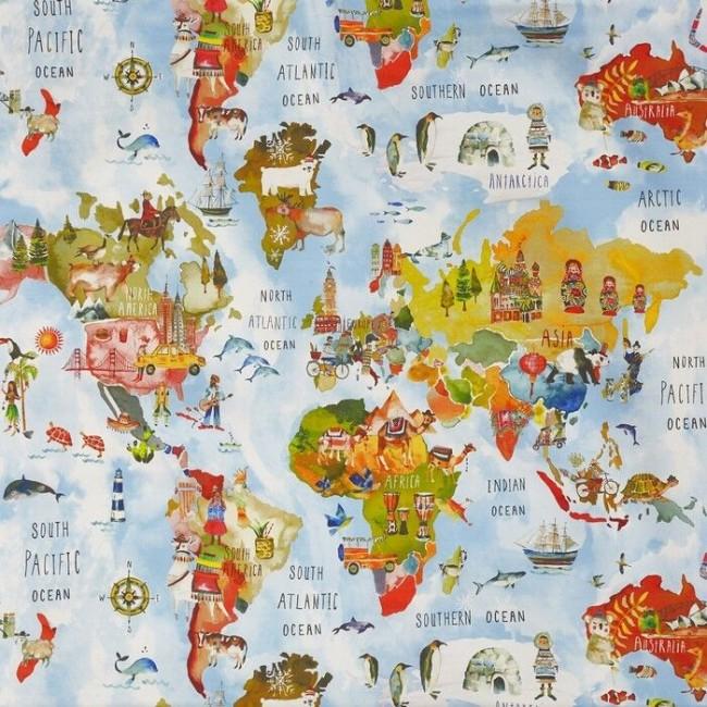 Clark und Clark Baumwoll Canvas/Möbelbezugstoffe Kinder Weltkarte