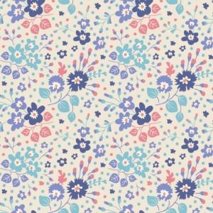 Tilda PlumGarden Flower Confetti Blue