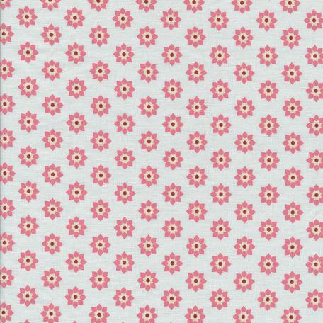 Beschichtete Baumwolle rosa Blumen auf grauem Hintergrund