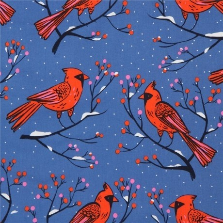 Patchworkstoff Cotton+Steel Winter Cardinals Blue