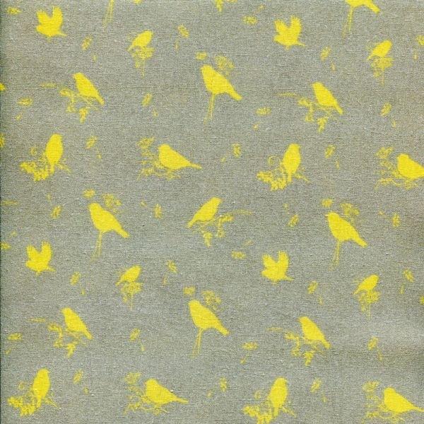 Baumwollstoff gelbe Vögelchen auf grau