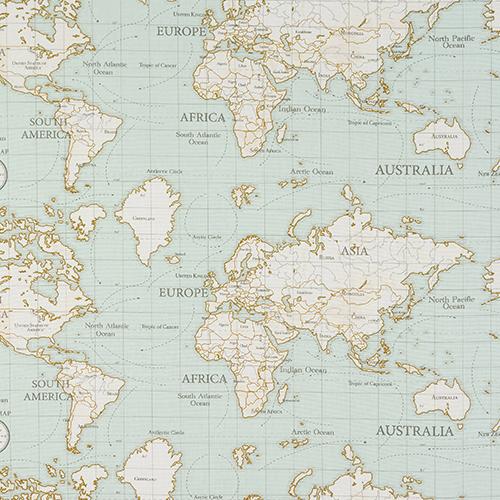 Clark und Clark Baumwoll Canvas/Möbelbezugstoff Weltkarte