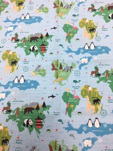 Clark und Clark Baumwoll Canvas/Möbelbezugstoff Stoff Weltkarte Kinder